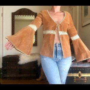 70s Inspired Suede and Crochet Top/ Jacket